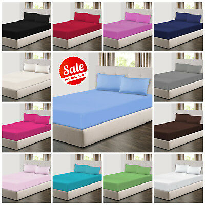 Extra Deep 25cm Fitted Sheets Bed Sheets & Pillow Cases Single Double King Size • 8.99£