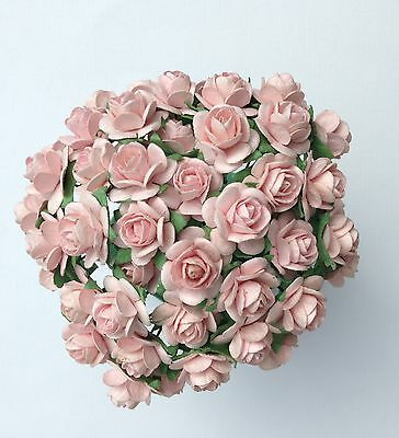 £3.80 • Buy 50 PALE  PINK MULBERRY PAPER OPEN ROSES/FLOWERS 1cm (10mm) And 1.5cm (15mm)
