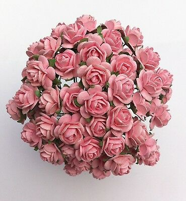 £4.10 • Buy 50 BABY  PINK MULBERRY PAPER OPEN ROSES/FLOWERS 1cm (10mm) And 1.5cm (15mm)