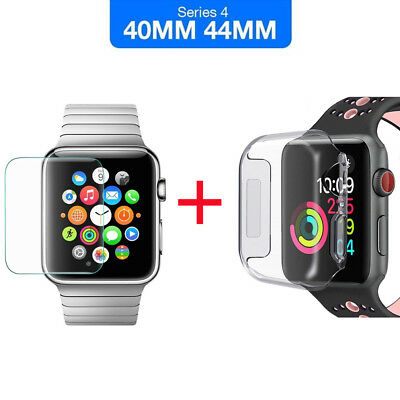 $ CDN4.21 • Buy For Apple Watch Series 4 Tempered Glass Screen Protector & Soft TPU Case 40/44mm