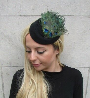 Black Green Peacock Feather Pillbox Hat Hair Clip Fascinator Races Wedding 6349 • 17.95£