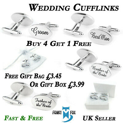Gift Boxed Silver & Gold Engraved Wedding Cufflinks Mens Oval Personalised UK • 3.75£