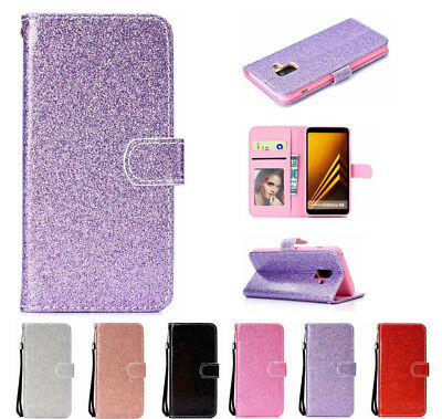 AU16.55 • Buy For Samsung Galaxy A8 A6+ J4 J6 S9+ Glitter Leather Flip Wallet Stand Case Cover