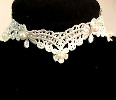 Pearl Detailed Off White Lace Choker Necklace Vintage Cute Pretty Glam Wedding • 2£
