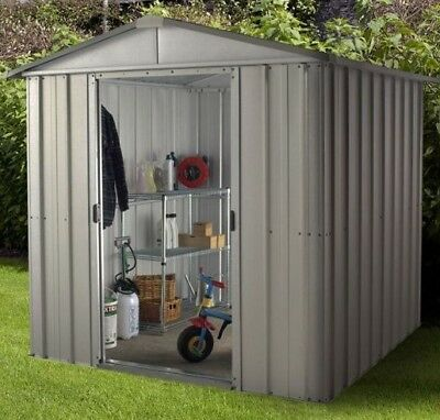 6 X 8 METAL GARDEN SHEDS YARDMASTER 6ft X 8ft APEX GALVANISED STEEL STORAGE 8x6 • 289.94£