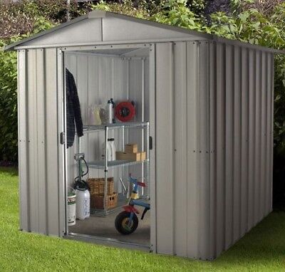 6 X 8 METAL GARDEN SHEDS YARDMASTER SHED 6ft X 8ft APEX GALVANISED STEEL STORAGE • 269.94£