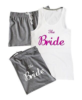 £19.01 • Buy THE BRIDE Pyjamas Set Vest Shorts Gift Bag Wedding Party Hen Do Night Pink To Be