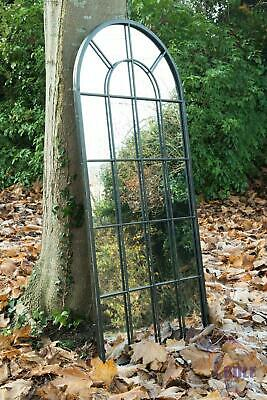 £177.99 • Buy New Black Multi Panelled Arched Window Garden Outdoor Mirror 4ft7 X 2ft2