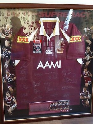 AU900 • Buy 2009 Queensland Maroons Fully Signed Framed Jersey. Limited Edition 73/100