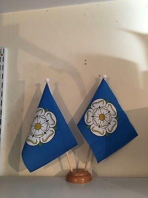 Yorkshire New X2 Table Flag Twin Set Wooden Base • 6.99£