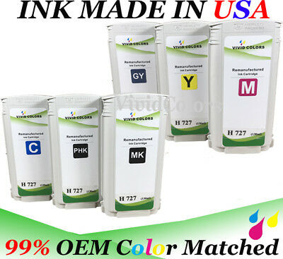 $246 • Buy 130ML Refurbished For T2500 Printer Set Of 6 MK PK C M Y GY HP727