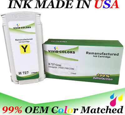 $42 • Buy 130ml Refurbished Yellow B3P21A HP727 Ink Tank For T2500 Printer