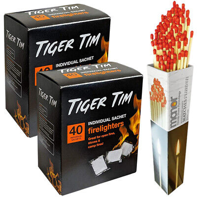 £9.89 • Buy Tiger Tim Fire Lighters X2 Tubs With Box Of Manor Long Matches For Stoves BBQ 80
