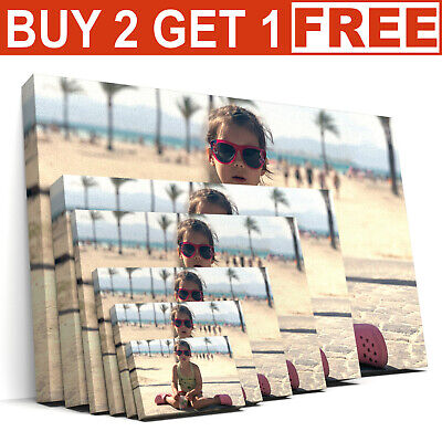 Personalised Photo On Ready To Hang Canvas Print A1 A2 A3 A4 A5 Framed Large Box • 6.99£