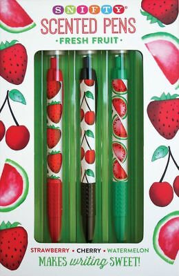 Scented Pen Set - Fresh Fruit - Great Xmas Gift - Strawberry, Cherry, Watermelon • 9.99£