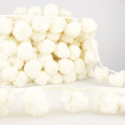 La Stephanoise 50mm Giant Pom Pom Trim Ivory - Per Metre • 4.80£