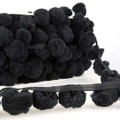 La Stephanoise 50mm Giant Pom Pom Trim Black - Per Metre • 4.80£