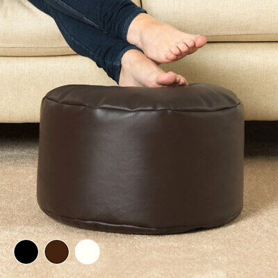Faux Leather Bean Bag Footstool, Beanbag Pouffe Seat Foot Stool • 29.99£
