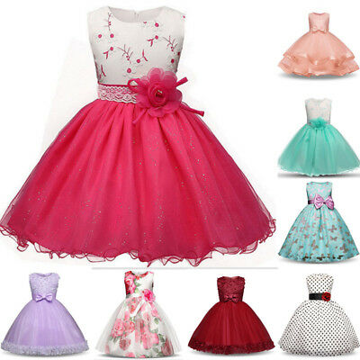 Princess Kids Baby Girl Dress Bridesmaid Party Pageant Wedding Dress Clothes • 17.78£