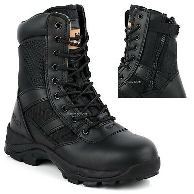 MENS GROUNDWORK SAFETY SHOES LEATHER MILITARY POLICE STEEL TOE CAP WORK BOOTS SZ
