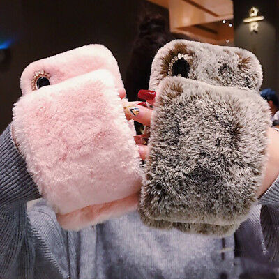 Warm Faux Rabbit Fur Fluffy Glove Phone Case Funky Plush Shockproof Bumper Cover • 7.69£