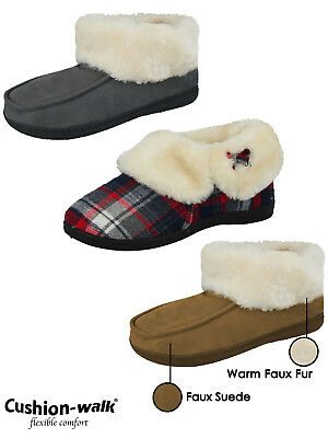 Ladies Cushion Walk Faux Suede Sheepskin Fur Lined Moccasin Boots Bootie Slipper • 9.99£