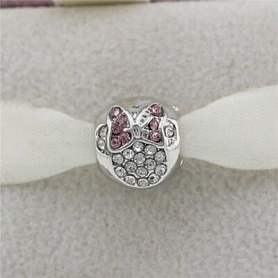 Minnie Mouse European Round Bead Charm With Pink Gift Pouch - Silver Tone Disney • 6.53£