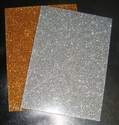 £6.50 • Buy Gold/Silver Glitter Sparkle Acrylic Sheet A5/A4/offcut 3mm Thick Laser Crafts