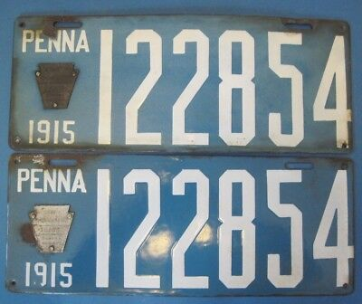 $ CDN223.70 • Buy 1915 Pennsylvania Porcelain License Plates Matched Pair