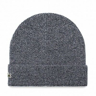 9e2a9b0e59bf Brand New Men s Lacoste (rb3502) Turned Edge Ribbed Wool Blue Beanie Hat Cap  •