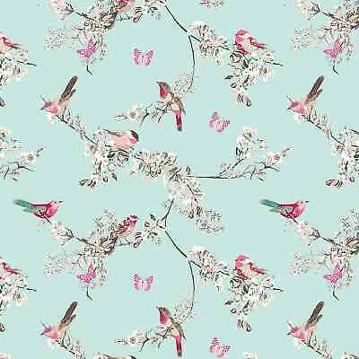 Beautiful Birds Duck Egg Cotton PVC Fabric WIPE CLEAN Tablecloth Oilcloth • 6.99£