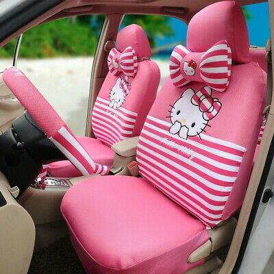 $168 • Buy 18Pcs Pink Kitty Car Seat Cover Auto Stripe Accessories Interior Women Universal