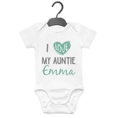 I Love My Auntie  Personalised Baby Grow Vest Custom Funny Gift Cute  • 7.99£