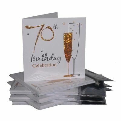 Multipack Gold Champagne Glass 70th Birthday Party Invitation Cards - 36 Cards • 10.99£