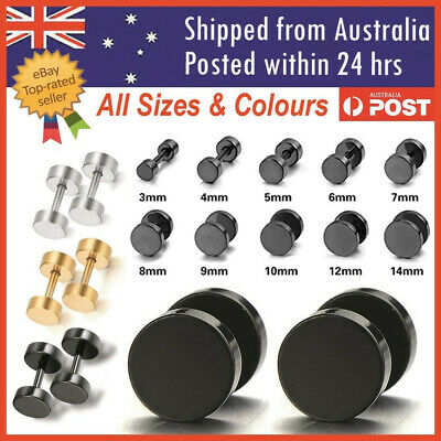 AU7.50 • Buy Men's Unisex Earing Stud Plugs Stainless Steel Ear Studs Piercing Jewellery