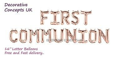FIRST / HOLY COMMUNION Foil Balloon Banner Kit Communion Event Decoration • 16.99£