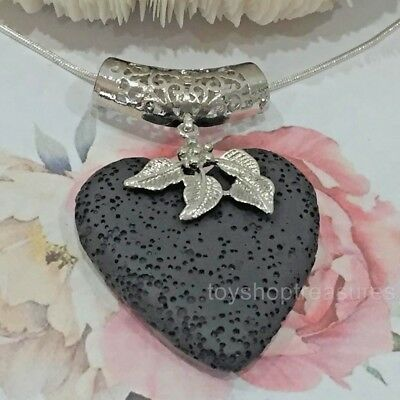 AU10.95 • Buy Heart Leaf Aromatherapy Diffuser Necklace Essential Oil Black Lava Stone