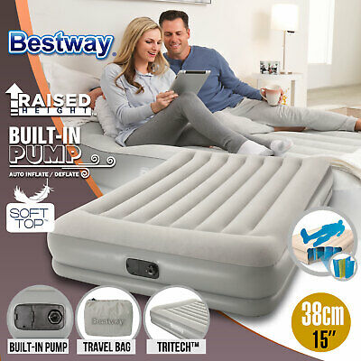 AU64 • Buy Bestway Portable Queen Inflatable Air Bed Blow Up Mattress Built In Pump Travel