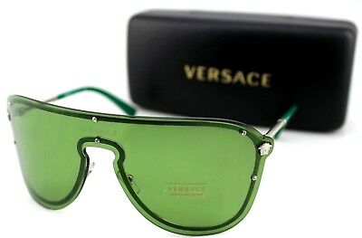 72cc3a2b5c4 NEW Genuine VERSACE MEDUSA MADNESS Silver Green Shield Sunglasses VE 2180  1000 2 • 229.95