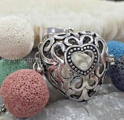 AU16.95 • Buy Heart Aromatherapy Diffuser Necklace Essential Oil Locket + 5 Lava Rock Colours