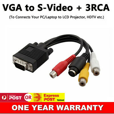 AU6.78 • Buy New VGA SVGA To 3 RCA S-Video TV AV Out Adapter Converter Cable For Laptop PC AU