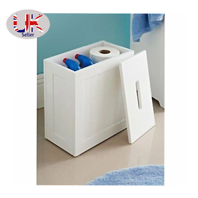 £22.98 • Buy Wooden White Crisp Finish Small Toilet Cleaning Product Storage Tidy Box Unit