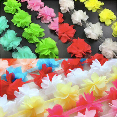 1 X Yard 3d Chiffon Flower Trim *many Colours* Fabric Lace Art& Craft -uk Seller • 1.98£