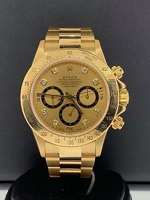 $29995 • Buy Rolex Daytona Zenith 40mm 18k Yellow Gold Factory Diamond Dial Ref 16528 Vintage