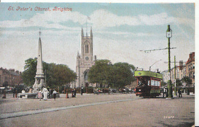 £2.75 • Buy Sussex Postcard - St Peter's Church - Brighton Showing Tram - Ref 4555A