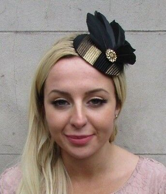 £19.95 • Buy Black And Gold Diamante Feather Pillbox Hat Fascinator Races Wedding 6435