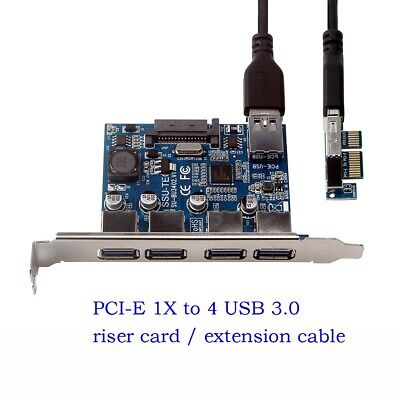 $16.49 • Buy 4 Port PCI-E To USB 3.0 HUB Expansion Card 5 Gbps Speed To Pcie Extension Cable