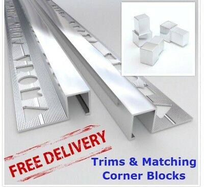 10x VROMA Tile Trims Box Shape Bright Chrome Aluminium *Matching Corner Blocks* • 59.99£