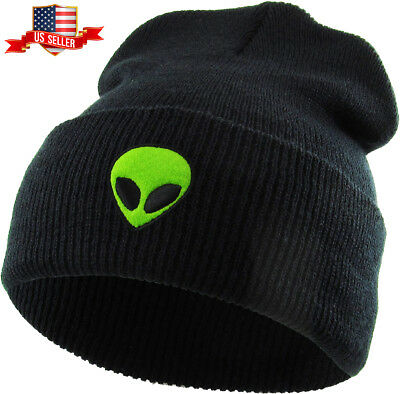 ecbc418a186 Alien Embroidered Cuffed Beanie Skully Patch Knit Hat Winter Cap • 9.99