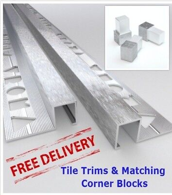 10x VROMA Tile Trims Box Shape Deep Brushed Chrome   *Matching Corner Blocks* • 74.99£